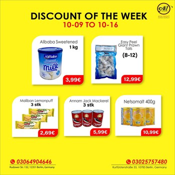 DISCOUNT OF THE WEEK!! Massive Savings! Less Spending!!  Hurry up, Indian, Sri-Lankan Grocery discount until 16 October. We make your favorite products affordable for you. Grab this chance now. We will make your shopping fun.  This offer is only for Shop. If you have any questions? Give us a call at +493064904646. We are open Mon-Sat 09:00 AM - 08:00 PM. Visit us, We are located at 1. Rudower Straße 132, 12351 Berlin 2. Kurfürstenstraße 33, 10785 Berlin 3. Zossener Str. 13, 10961 Berlin, Germany.  #grocerysgopping #grocery #groceries #getgrocery #africanchili #discount #bestprice #rice #groceriesingermany #germanyfood #Deutschland #milk #srilankansingermany #indiansingermany #indianingermany #asianshop #offers #africangrocery #berlinfood #indiansinberlin #indiangrocery #prawn #srilankanfood #internationale #lebensmittel #internationalelebensmittel #shoppinginberlin #desifood