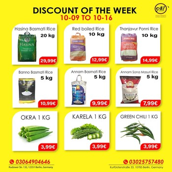 DISCOUNT OF THE WEEK!!  Massive Savings! Less Spending!!  Hurry up, Indian, Sri-Lankan Grocery discount until 16 October. We make your favorite products affordable for you. Grab this chance now. We will make your shopping fun.   This offer is only for Shop. If you have any questions? Give us a call at +493064904646. We are open Mon-Sat 09:00 AM - 08:00 PM. Visit us, We are located at 1. Rudower Straße 132, 12351 Berlin 2. Kurfürstenstraße 33, 10785 Berlin  3. Zossener Str. 13, 10961 Berlin, Germany.   #grocerysgopping #grocery #groceries #getgrocery #africanchili #discount #bestprice #rice #groceriesingermany #germanyfood #Deutschland #healthy #srilankansingermany #indiansingermany #indianingermany #asianshop #asingrocery #africangrocery #berlinfood #indiansinberlin #indiangrocery #deliveryservice #srilankanfood  #internationale #lebensmittel #internationalelebensmittel #shoppinginberlin #vegetables