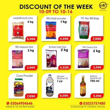 DISCOUNT OF THE WEEK!!  Massive Savings! Less Spending!!  Hurry up, Indian, Sri-Lankan Grocery discount until 16 October. We make your favorite products affordable for you. Grab this chance now. We will make your shopping fun.   This offer is only for Shop. If you have any questions? Give us a call at +493064904646. We are open Mon-Sat 09:00 AM - 08:00 PM. Visit us, We are located at 1. Rudower Straße 132, 12351 Berlin 2. Kurfürstenstraße 33, 10785 Berlin  3. Zossener Str. 13, 10961 Berlin, Germany.   #grocerysgopping #grocery #dal #getgrocery #africanchili #discount #bestprice #rice #groceriesingermany #germanyfood #Deutschland #haldi #srilankansingermany #indiansingermany #indianingermany #asianshop #asingrocery #africangrocery #berlinfood #indiansinberlin #indiangrocery #deliveryservice #srilankanfood  #internationale #lebensmittel #internationalelebensmittel #shoppinginberlin #atta #cookinoil