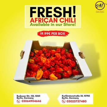 Fresh African Chili  available in our store! 19.99€ PER BOX! Best Price! Visit our store or Order Now!  Call for Order 📞03064904646 📍Rudower Str. 132, 12351 Berlin, Germany  📞03025757480 📍Kurfürstenstraße 33, 10785 Berlin, Germany  Visit us whenever you prefer!   #grocerysgopping #grocery #groceries #getgrocery #africanchili #spicy #bestprice #healthy #food #groceriesingermany #germanyfood #Deutschland #healthy #vegan #afrofood #africaningermany #indianingermany #asianshop #asingrocery #africangrocery #berlinfood
